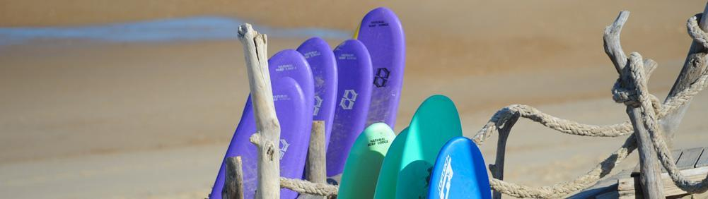 Soft boards to hire at the Natural Surf School